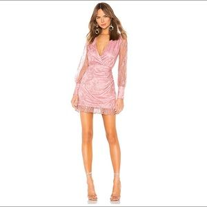 Lovers + Friends Abigail Mini Dress Metallic Rose